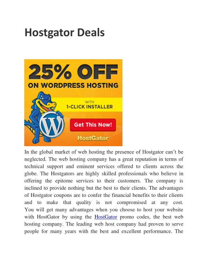 Hostgator Deals