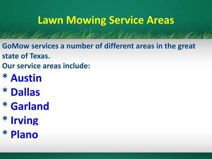 Lawn Mowing Service Areas