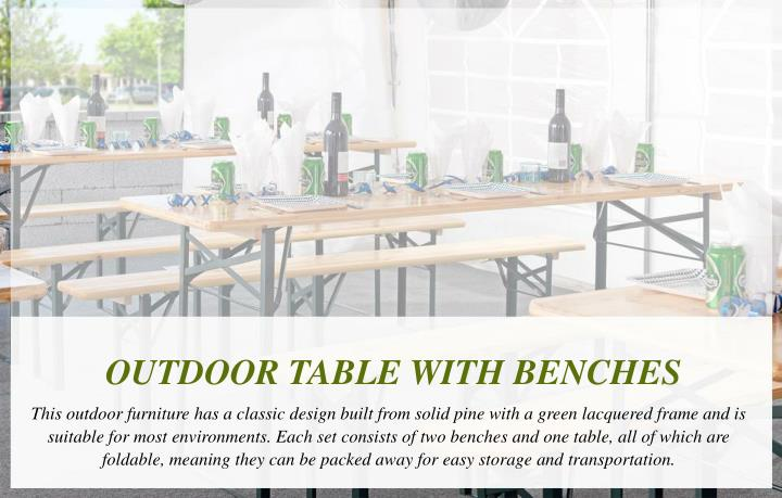 OUTDOOR TABLE WITH BENCHES