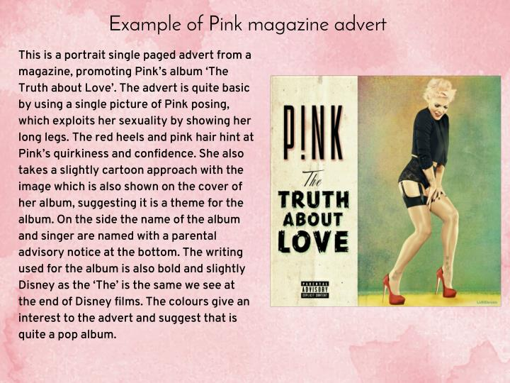 Example of Pink magazine advert