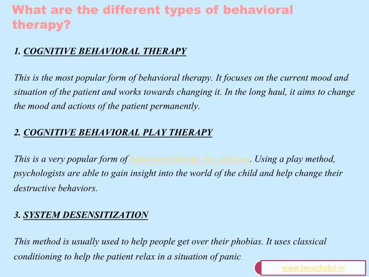 What are the different types of behavioral therapy?