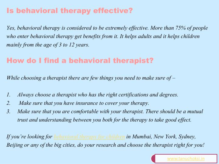 Is behavioral therapy effective?