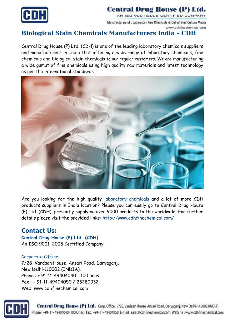 Biological Stain Chemicals Manufacturers India – CDH