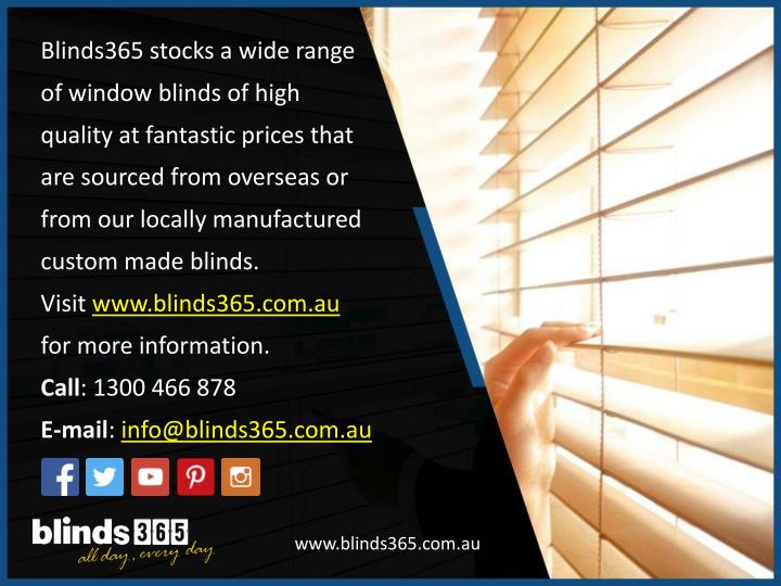 Blinds365 stocks a wide range