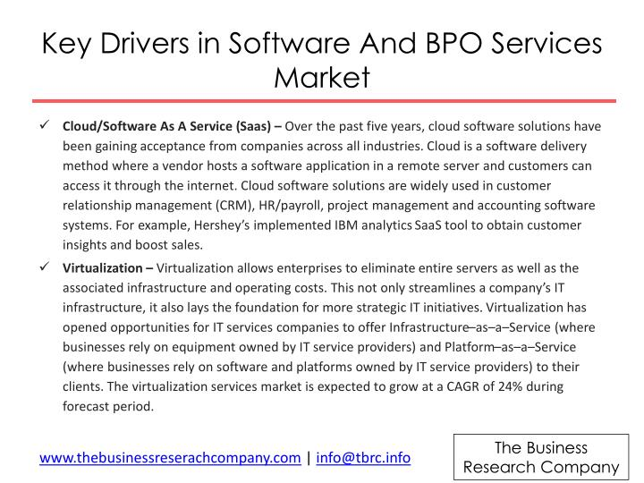 Key drivers in software and bpo services m arket