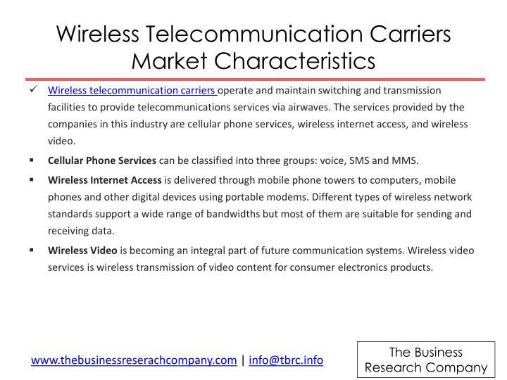 Wireless telecommunication carriers market characteristics