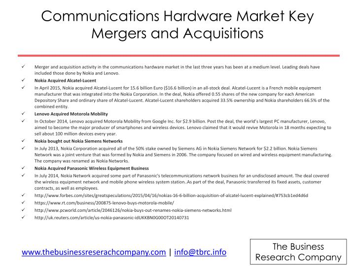 Communications Hardware Market Key Mergers and Acquisitions