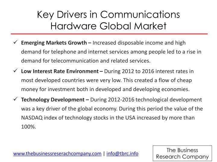 Key drivers in communications hardware global market
