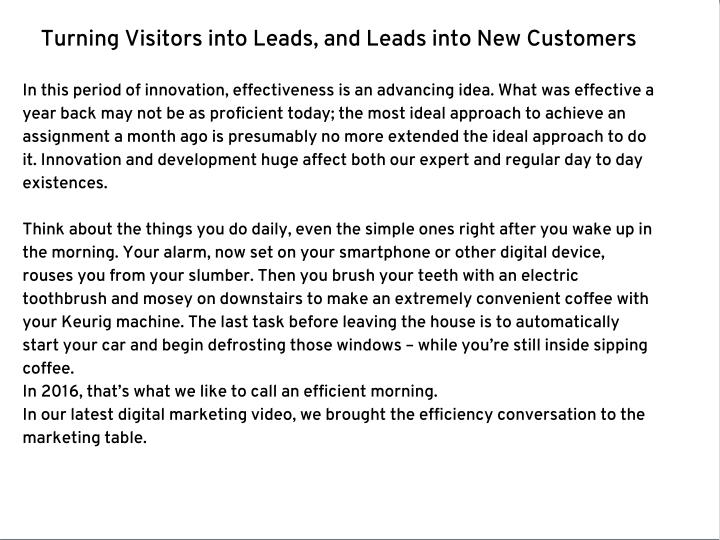 Turning Visitors into Leads, and Leads into New Customers