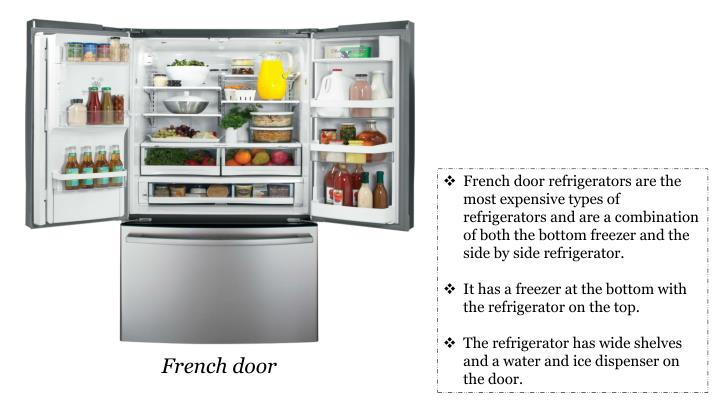 French door refrigerators are the most expensive types of refrigerators and are a combination of both the bottom freezer and the side by side refrigerator.