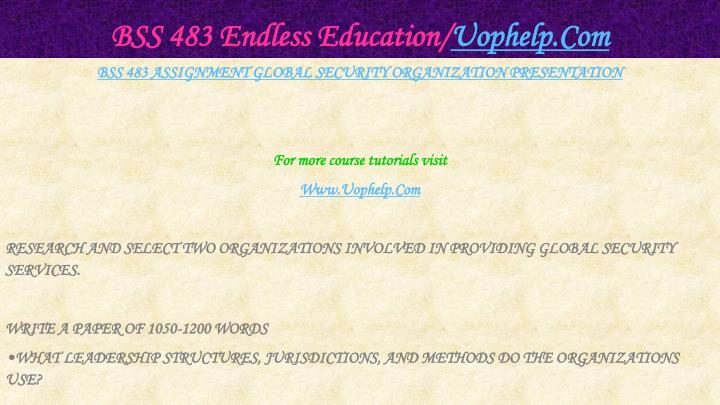 Bss 483 endless education uophelp com2