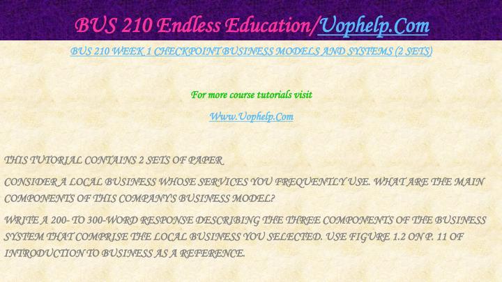Bus 210 endless education uophelp com2