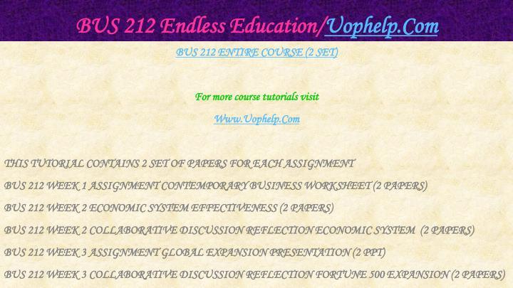Bus 212 endless education uophelp com1