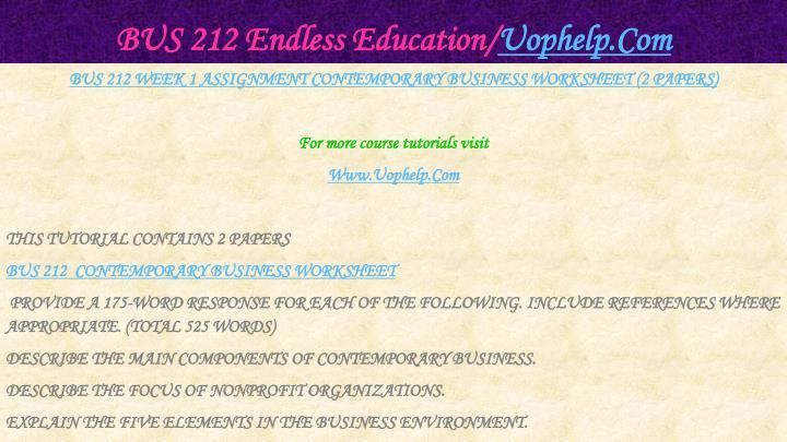 Bus 212 endless education uophelp com2