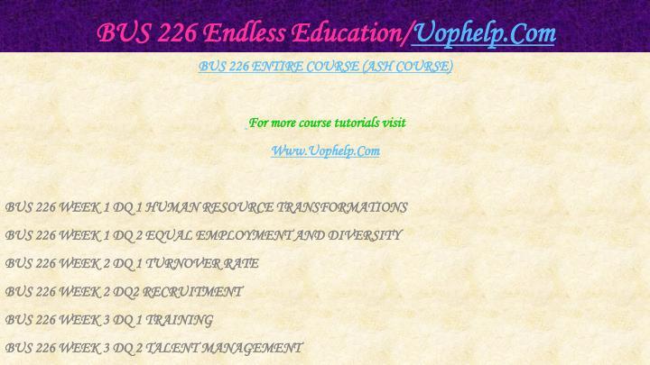 Bus 226 endless education uophelp com1