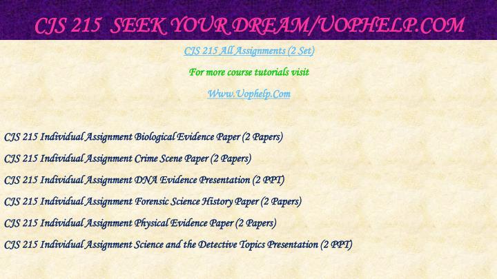 Cjs 215 seek your dream uophelp com1