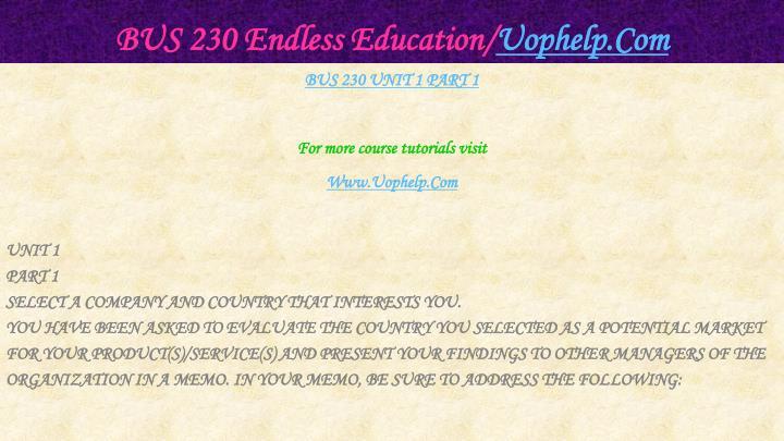 Bus 230 endless education uophelp com2