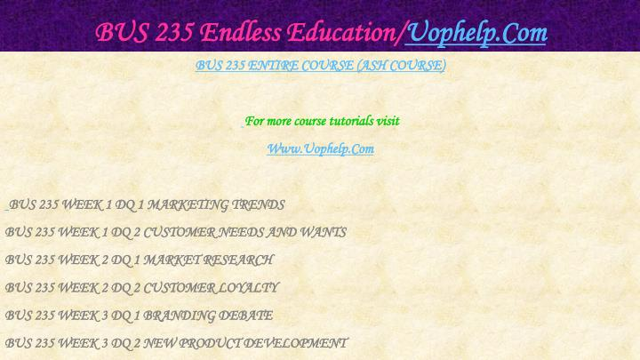 Bus 235 endless education uophelp com1