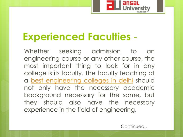 Experienced Faculties