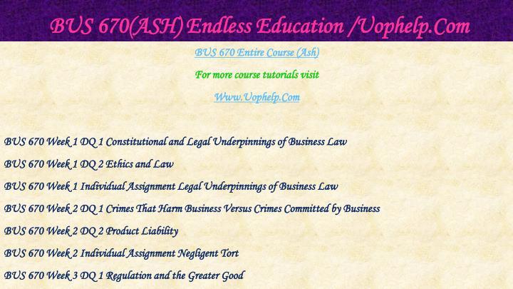 Bus 670 ash endless education uophelp com1