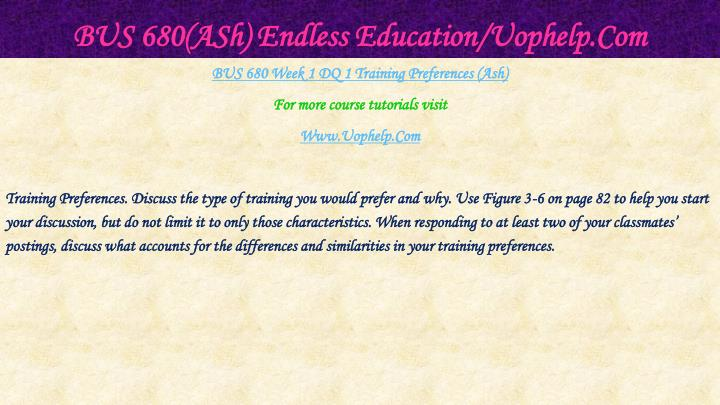 Bus 680 ash endless education uophelp com2