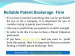 reliable patent brokerage firm