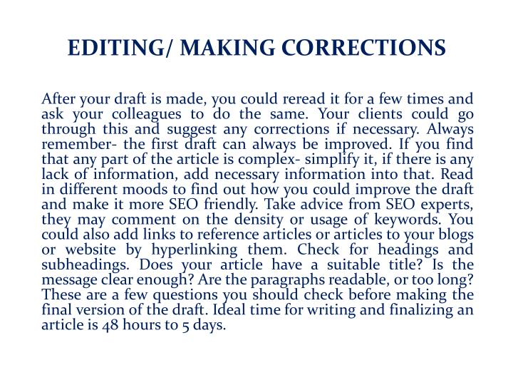 EDITING/ MAKING