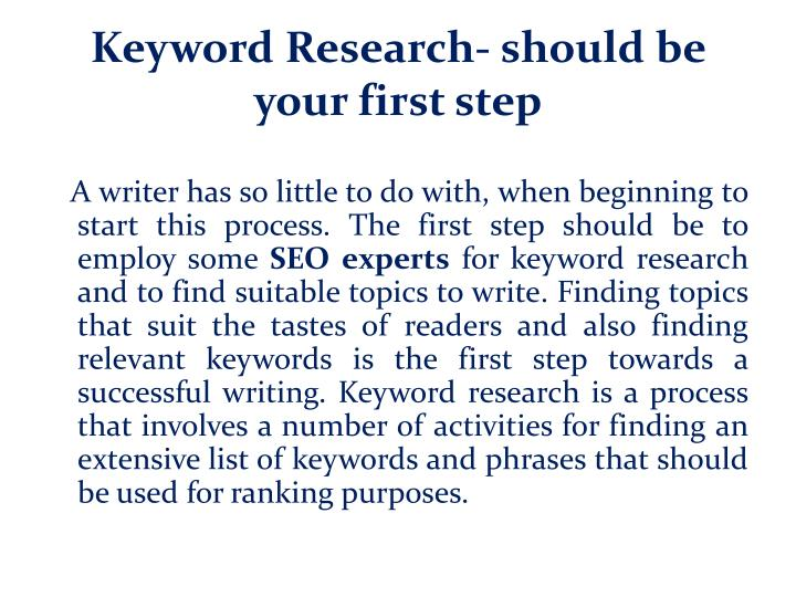 Keyword Research- should be your first