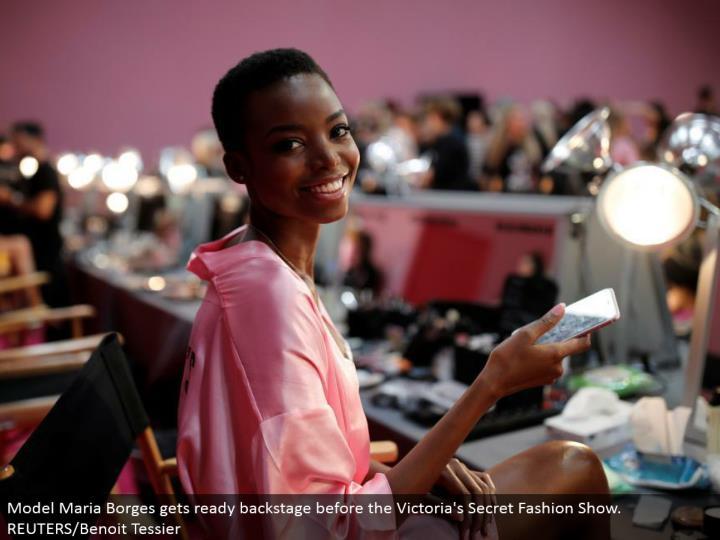 Model Maria Borges prepares backstage before the Victoria's Secret Fashion Show. REUTERS/Benoit Tessier