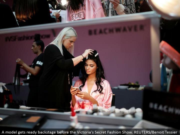 A display prepares backstage before the Victoria's Secret Fashion Show. REUTERS/Benoit Tessier