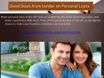 good deals from lender on personal loans