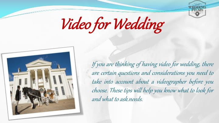 Video for wedding