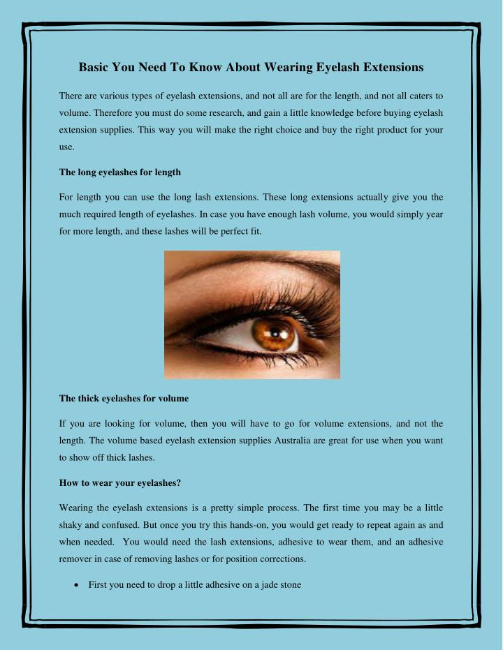 Basic You Need To Know About Wearing Eyelash Extensions