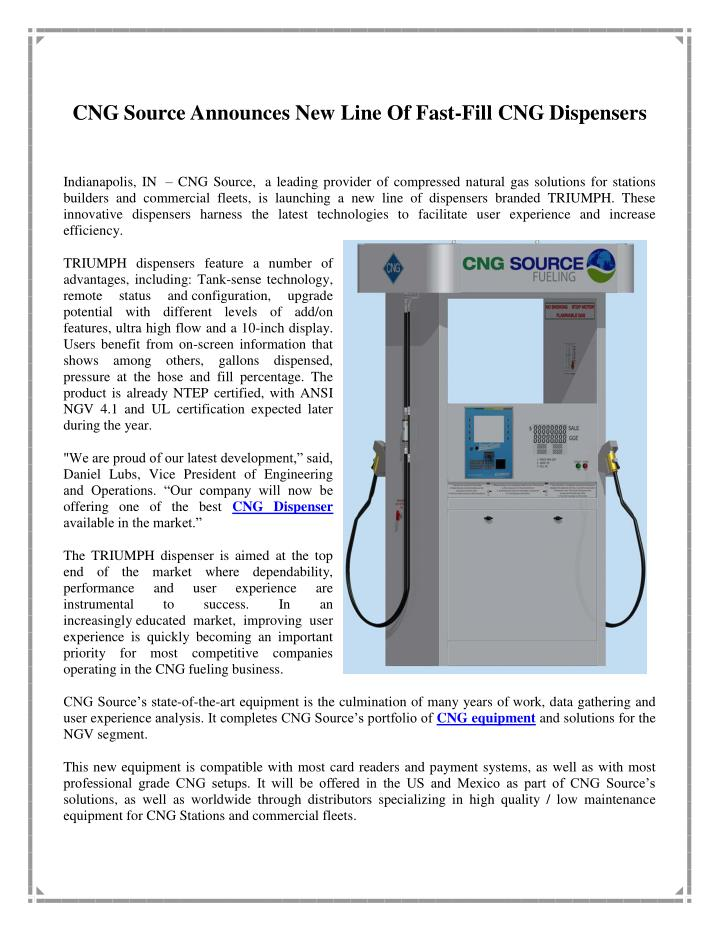 CNG Source Announces New Line Of Fast-Fill CNG Dispensers