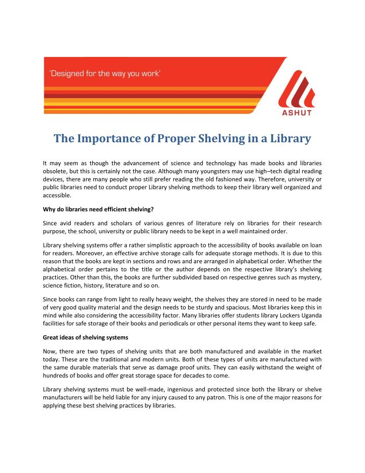 The Importance of Proper Shelving in a Library