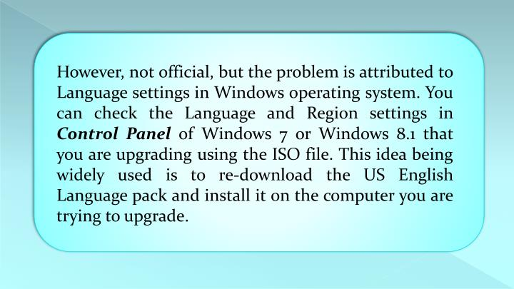However, not official, but the problem is attributed to Language settings in Windows operating system. You can check the Language and Region settings in