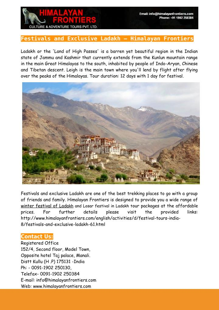 Festivals and Exclusive Ladakh – Himalayan Frontiers
