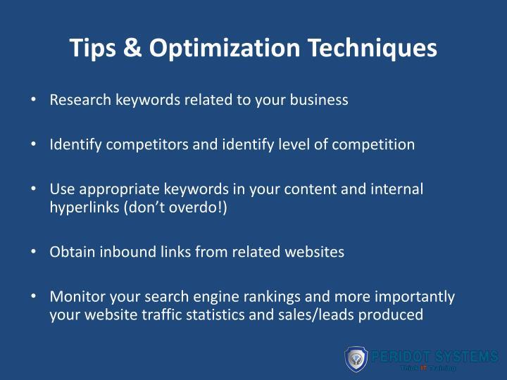 Tips & Optimization Techniques