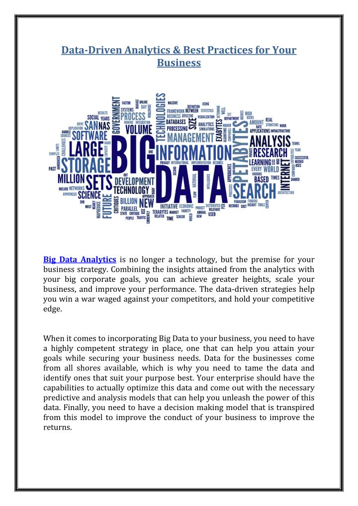 Data-Driven Analytics & Best Practices for Your