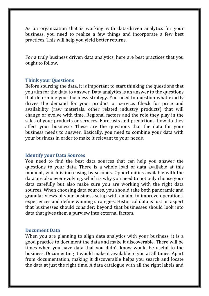 As an organization that is working with data-driven analytics for your