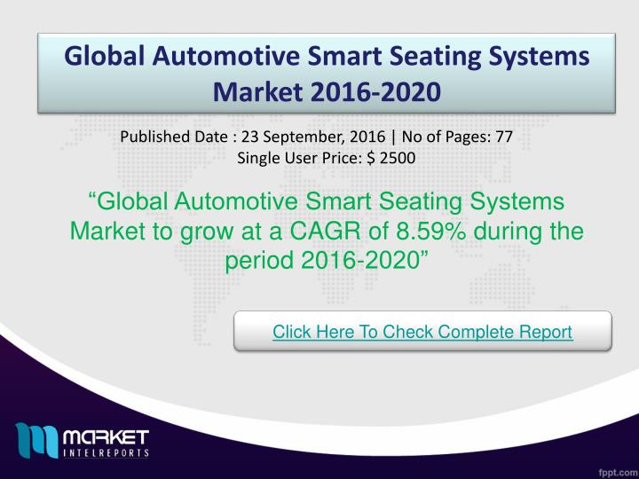 Global Automotive Smart Seating Systems Market 2016-2020