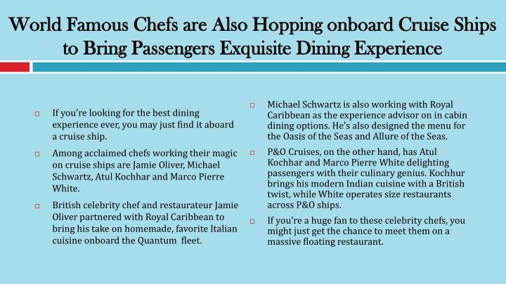 World Famous Chefs are Also Hopping onboard Cruise Ships