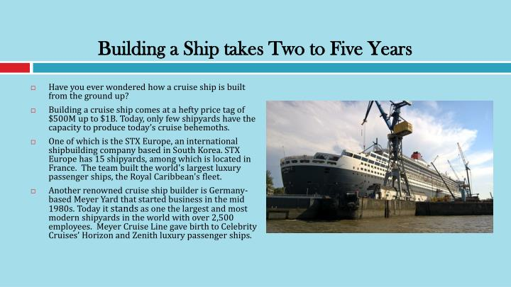 Building a Ship takes Two to Five Years