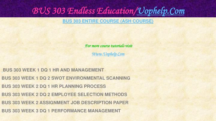 Bus 303 endless education uophelp com1