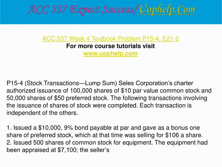 ACC 537 Expect Success/