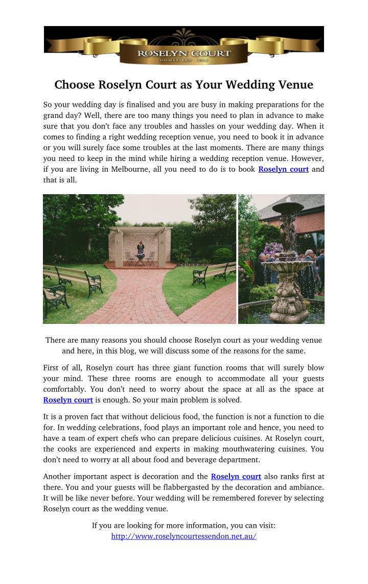 Choose Roselyn Court as Your Wedding Venue