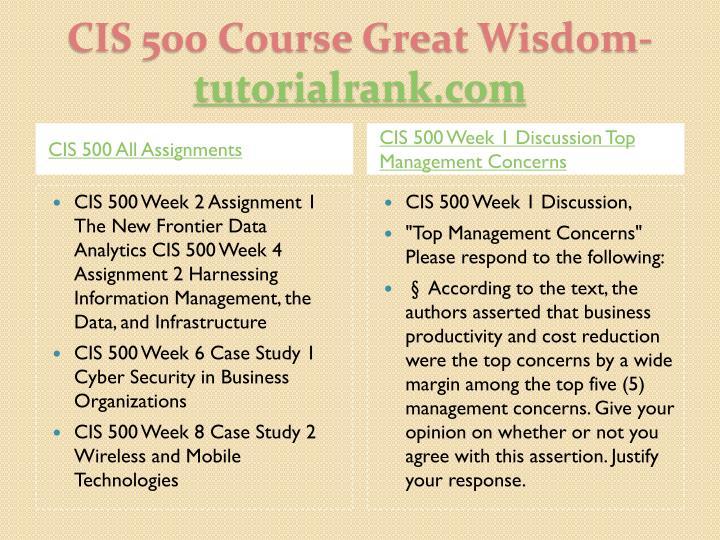 Cis 500 course great wisdom tutorialrank com1