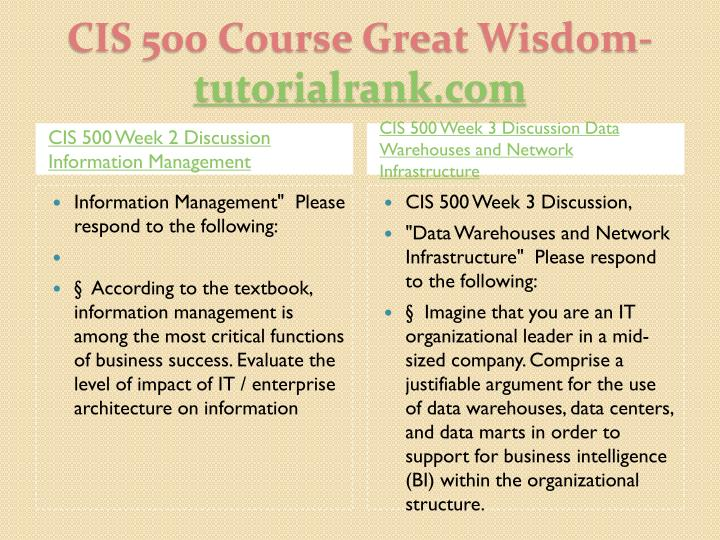 CIS 500 Week 2 Discussion Information Management