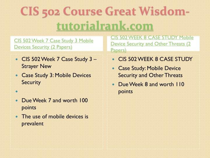 CIS 502 Week 7 Case Study 3 Mobile Devices Security (2 Papers)