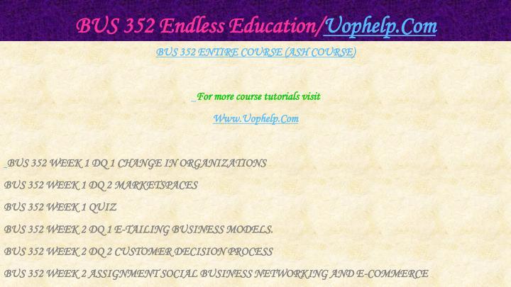 Bus 352 endless education uophelp com1